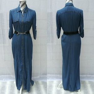 Spense button front chambray denim maxi dress 6